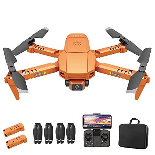 OBEST Mini Drone con Cámara 4K, WiFi FPV en Tiempo Real, Modo sin Cabeza, 3D Flip, Vuelo de Trayectoria, Una Tecla de Regreso/Despegue, 2 Baterías, para Principiantes y Niños, Naranja