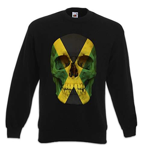 Urban Backwoods Jamaica Jamaican Skull Flag Sweatshirt Pullover Sweater Pull Noir Taille M
