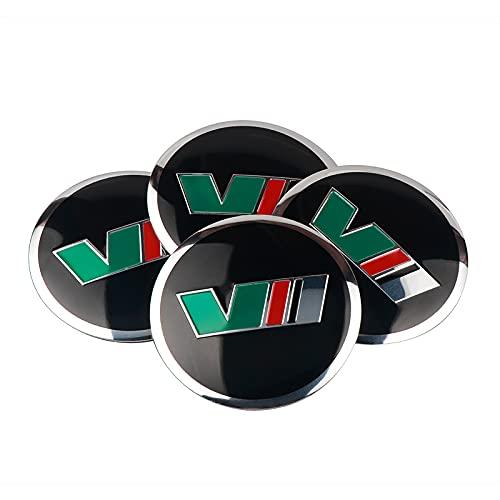 4 unids Coche Estilo 56 mm Aluminio VII VRS Logo Wheel Center Center Hub Cap Etiqueta calcomanía Compatible con Skoda Octavia Superb Fabia Roomster Yeti (Color Name : For VII)
