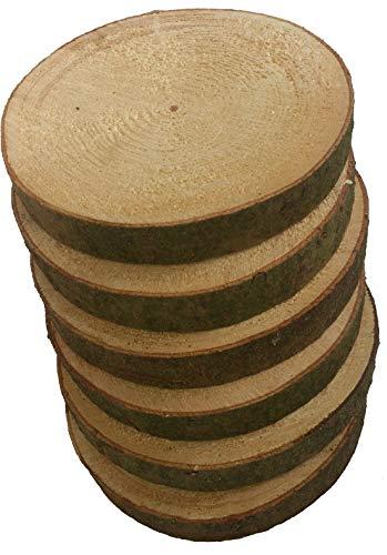 Mercarimus 6 Stück Holzscheiben 20-23 cm Baumscheiben Astscheiben mit Rinde Deko Basteln Floristik Hochzeit