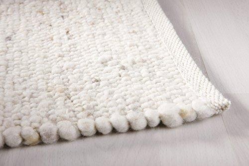 Taracarpet Moderner Landhaus Teppich Handwebteppich Fjord aus hochwertiger Schurwolle beidseitig legbar echte Handarbeit Farbe 1 Natur meliert 090x180 cm