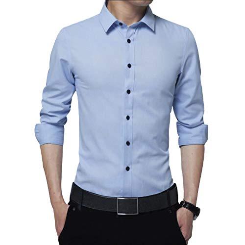 Irypulse Camicia Uomo Maniche Lungo Slim Fit Manica Lunga Facile Stiro Cotone Maglietta Lunghe Casual Formale Tinta Unita Eleganti,Blu Chiaro-L