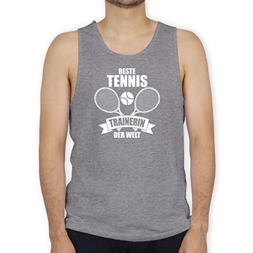 Tennis - Beste Tennistrainerin der Welt - 3XL - Grau meliert - Geschenk - BCTM072 - Tanktop Herren und Tank-Top Männer