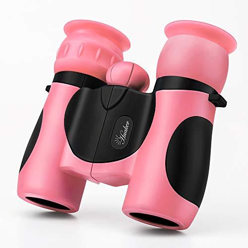 Kids Binoculars 8x21 High-Resolution Real Optics Compact Binoculars Kids Toy for Boys and Girls,Small Telescope for Kids Bird Watching, Travel, Safari, Adventure, Outdoor Fun (Pink)