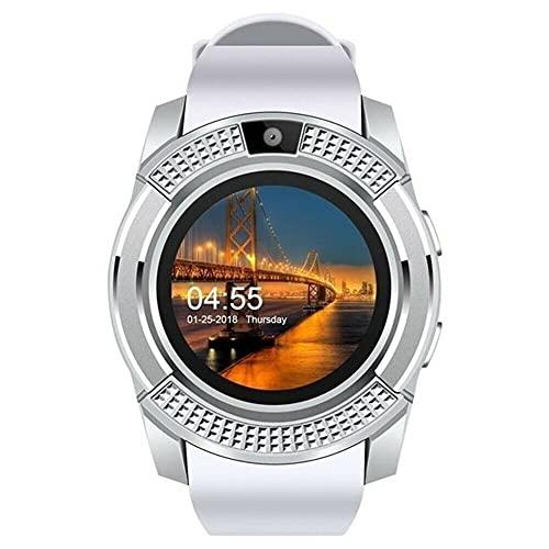 NONGLAN Smart Watch Bluetooth-compati Sim Tarjeta Sim 2g Men's Digital Wrist Watches Sleep Monitor Sport Watch para iOS Android(Color:Blanco)