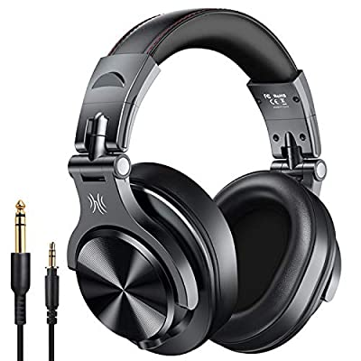 OneOdio A70 Bluetooth Headphones Over Ear, 50 Hrs Playtime, Stereo Wireless?Wired Headset with CVC6.0 Mic, Professional Studio Monitor Mixing Headphones for TV/PC/Phone by OneOdio