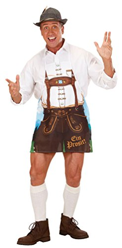Karneval-Klamotten Kostüm Lederhose Trachten-Hose Herren Schürze Bayern Oktoberfest Grillschürze Bayern-Hose Tirole Herrenkostüm Einheitsgröße