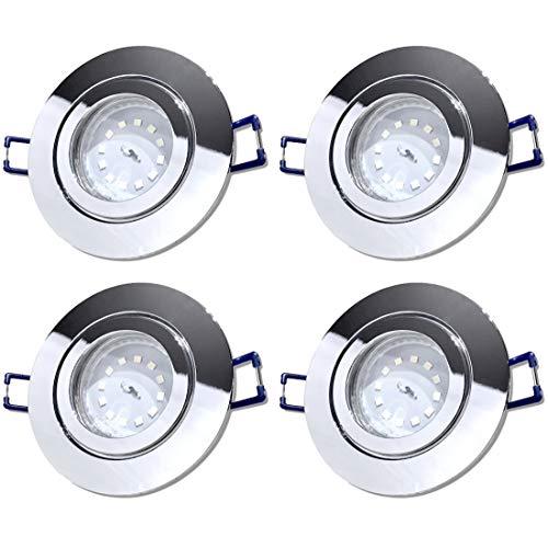 LED Bad Einbauleuchten 12V inkl. 4 x 3W SMD LM Farbe Chrom IP44 LED Einbaustrahler Neptun Rund 3000K Deckenspots