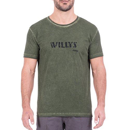 Jeep Willys J8s T-Shirt Vintage pour Homme XL Vert/Noir