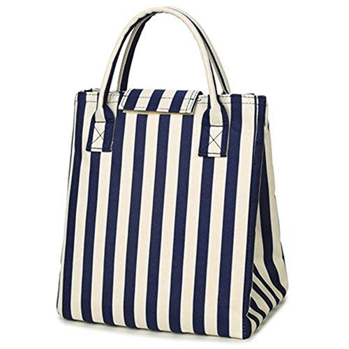 Moosoo Reusable Thermal Foldable Lunch Bag Lunch Tote Insulated Lunch Box Picnic Bag Cooler Bag for Men Women (Stripe)