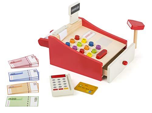 Small Foot 11082 Spielkasse mit Zubehör aus Holz für Kinder ab 3 Jahren, mit Kartenlesegerät und Scanner, Spielgeld, EC-Karte, Papierrolle Spielzeug, Mehrfarbig