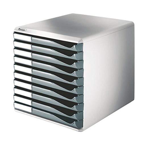 Leitz 52810089 Schubladenset Formular-Set, 10 Schubladen, lichtgrau/dunkelgrau