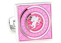 恋のキューピット 天使 ピンク系 カフスボタン ピンク メンズ 856