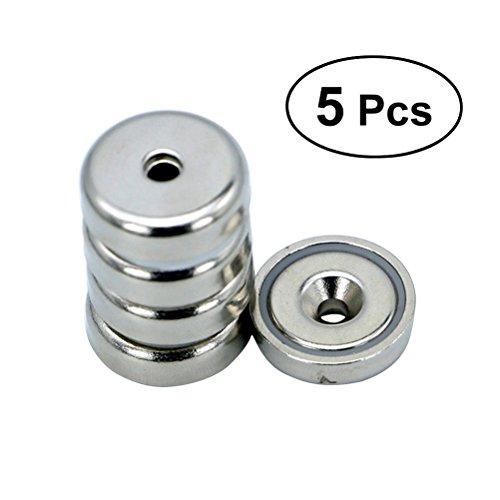 UEETEK Magneti per dischi al neodimio 5 pezzi magneti per terre rare Magneti per fori magneti magnetici permanenti per frigorifero / fai da te / edilizia / scientifica / artigianato e altro (D20)