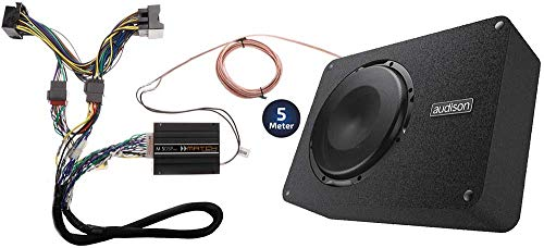 OPTION Soundupgrade V2 kompatibel mit VW Golf 7 VII (Typ AU) - 100{e8ee73d4c282cad9cd898b7ecf0b16c4f1f509d9e7ffc167585eb00a4051ec6b} Plug & Play Komplettsystem mit 5-Kanal-DSP-Verstärker, 25cm Downfiring-Subwoofer - 400 Watt RMS