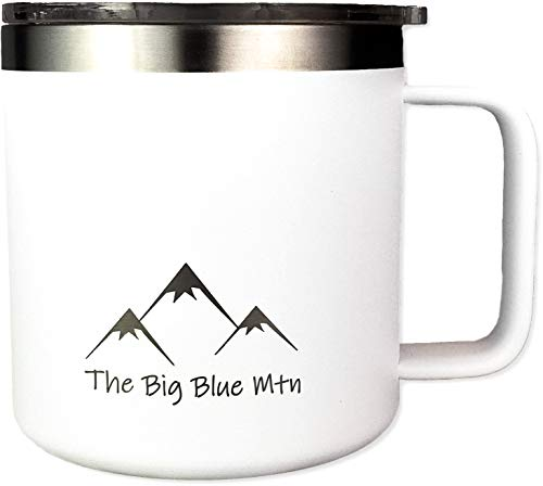 THE BIG BLUE MTN 14 oz Camp Mug Travel Tumbler Cup with Powder Coated Double Walled Vacuum Insulated Stainless Steel including Lid and Handle for Coffee Wine Water Tea Hot Cold Beverage (White)