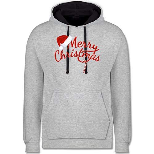 Weihnachten & Silvester - Merry Christmas Zuckerstange - XS - Grau meliert/Navy Blau - Christmas 5XL - JH003 - Hoodie zweifarbig und Kapuzenpullover für Herren und Damen