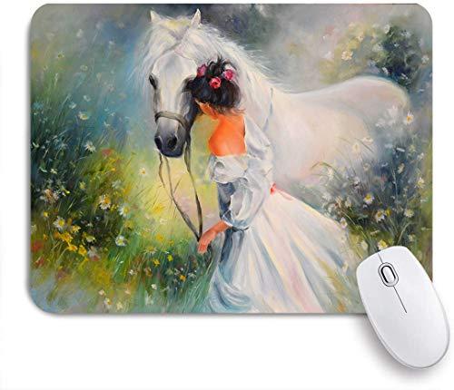 QINCO Gaming Mouse Pad Rutschfeste Gummibasis,Mädchen Pferd Ölgemälde,für Computer Laptop Office Desk,240 x 200mm