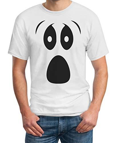 Grusel Kostüm Halloween Kostüme Herren T Shirts Ghost Face Herren T-Shirt X-Large Weiß