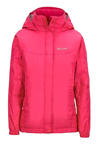 Marmot Girls' PreCip Lightweight Waterproof Rain Jacket, Pink Rock, Medium