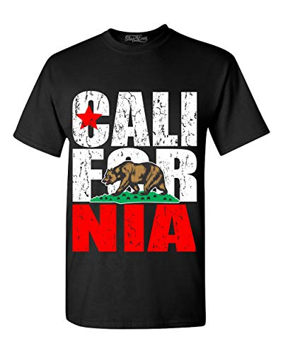 shop4ever California State Flag Bear T-Shirt Medium Black 99