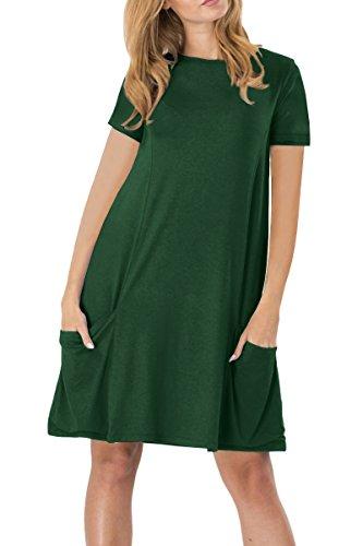 YMING Yming Damen Frühling Herbst Kleid Casual Kurzarm Tunika Rundhals Basic Blusenkeid Plus Größe Grün XXXL/DE 46-48