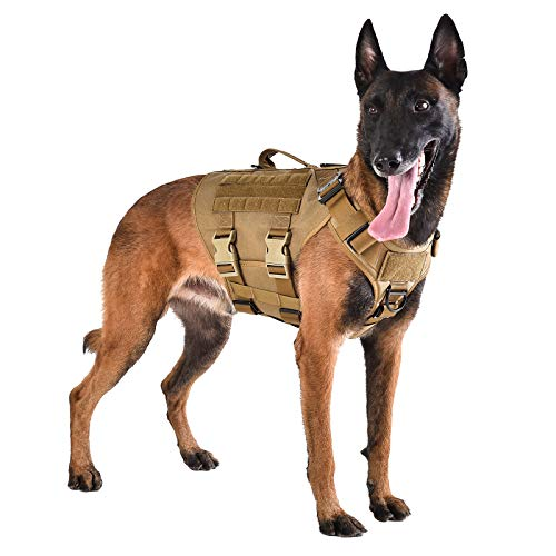 """ICEFANG Tactical Dog Operation Harness with 6X Buckle,Dog Molle Vest with Handle,3/4 Body Coverage,Hook and Loop Panel for ID Patch,No Pulling Front Clip (L (28""""-35"""" Girth), Coyote Brown)"""