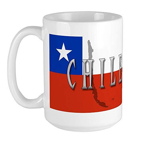 CafePress - Extra große Tasse mit Chile-Flagge – Kaffeetasse, groß 425 ml, weiße Kaffeetasse