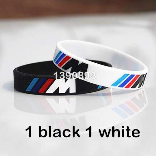 XiXi 2pcs Incidere Ologramma Bracciale /// M Sport M Black Power Bianco Wristband Braccialetto in Silicone (Metal Color : 1 Black 1 White)