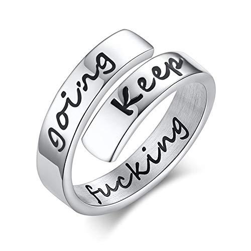 BATOHOME Herrenring Breit, Offener Ring Silber Keep Funking Going Perfekt für Partys, Hochzeiten, Verlobungen und Hobbys Mode Ring Größe 60 (19.1)