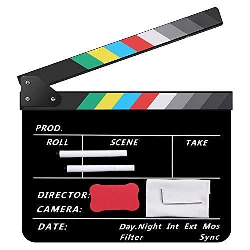 Temery Filmklappe, 30X25cm Clapperboard, Hochwertige Regieklappe mit 2 Stift, Leicht Abzuwischender Acryl-Clapper für Film, TV-Serien, Werbespots, Studio und Andere Videoaufnahmen, Schwarz