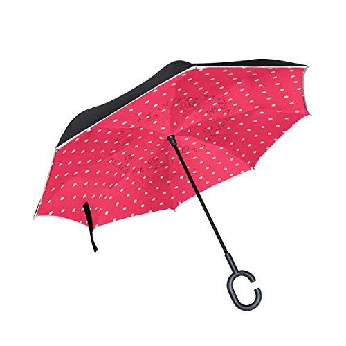ALINLO Omgekeerde Paraplu Rood Wit Polka Stip, Dubbele Laag Omgekeerde Paraplu Waterdicht voor Auto Regen Outdoor met C-Shaped Handvat