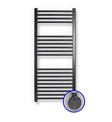 Radiador Toallero Eléctrico Zeta E * Toalleros Eléctricos (Medidas 1200 x 500 mm) Con Control TH02 * Secatoallas En Color Negro Mate Ral 9005 * 2 AÑOS de Garantía