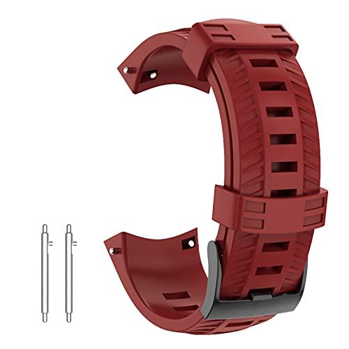 NotoCity Correa para Suunto 9 Baro Pulsera Suunto 7 D5 Spartan 24mm Sport Suave Silicona Bandas Suunto 9 Repuesto Accesorio Rojo