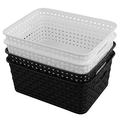 Gitany Cestas de Almacenamiento de plástico Medianas, Cesto 4 Unidades, Negro y Blanco Cesta de Rectangular