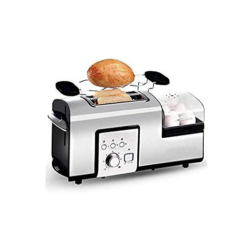 LMDH Tostadora, con Huevo cocido al Vapor Pan y Acero Inoxidable Sartén, 5 en 1 tostadora, 2 Slice Toaster con Mini sartén, Vapor, Ranura Ancha