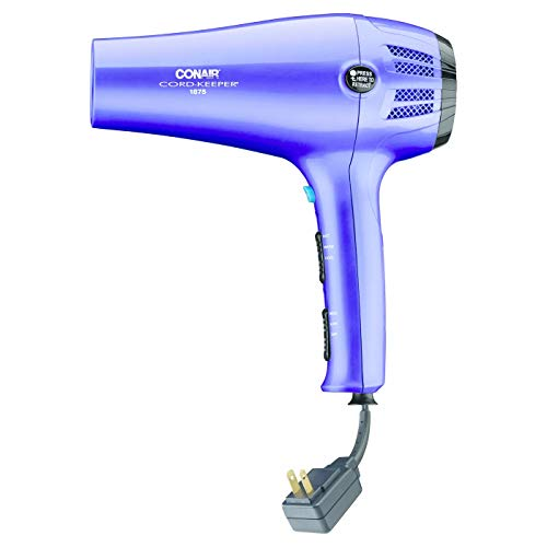 Conair Cord Keeper Hair Dryer with Folding Handle and Retractable Cord, Travel Hair Dryer, Teal with Ionic Technology, 1875 Watt, Purple