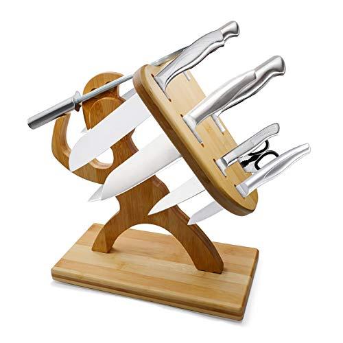 Messerblock - Schneidblock hält Ihre 6 Messer, Küchenschere und Spitzer, handgefertigtes Premium Maple Spartan Warrior Shape Aufbewahrungsregal