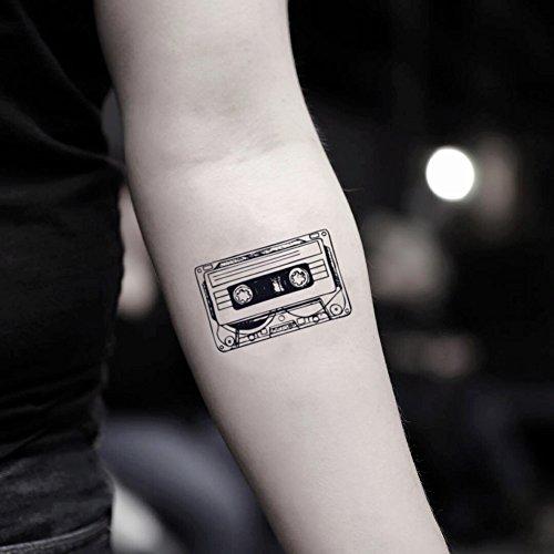 Cassette Tape Temporary Fake Tattoo Sticker (Set of 2) - www.ohmytat.com
