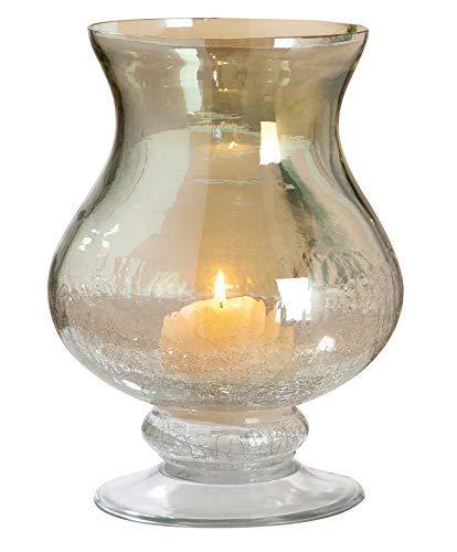 GILDE Windlicht - aus Glas in grün klar craqueliert H 27 cm D 15 cm