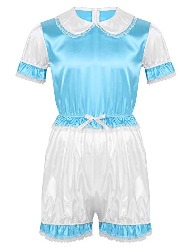 Agoky Herren Sissy Kurzarm Satin Nachthemd mit Puppe Kragen Männer Body mit Shorty Unterhosen Gay Crossdresser Kleidung Nachtwäsche Hellblau XX-Large