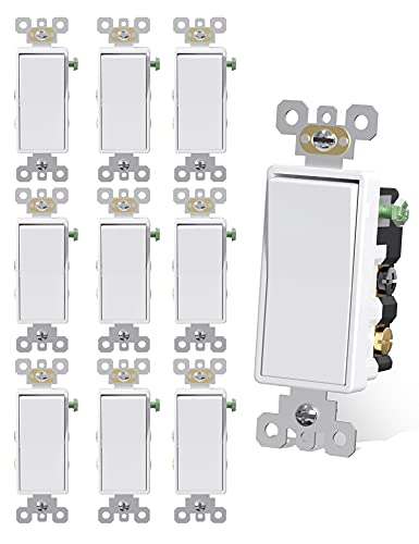 AIDA 4 Way Switch 15 Amp 4-Way Light Switches White Self-Grounded Indoor Electrical ON/Off Wall Rocker Decora Four Way Paddle Switches, UL Listed, Side & Back Wired, 10 Pack