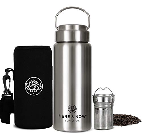 All-Purpose Travel Mug and Tumbler   Tea Infuser Water Bottle   Fruit Infused Flask   Hot & Cold Double Wall Stainless Steel Coffee Thermos   by Here & Now Supply Co. (500 ml (16.9 oz))