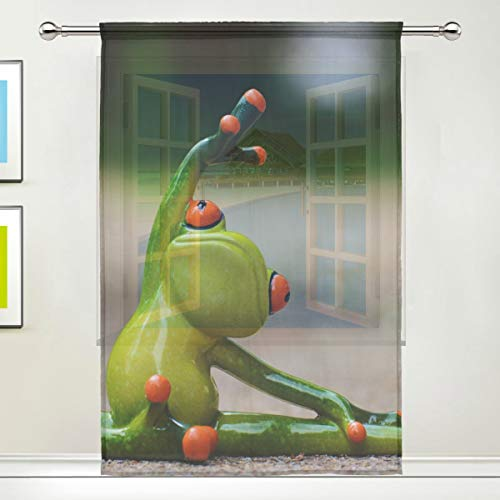 NaiiaN Rétro Tulle Print Semi Sheer Happy Figurine of Frog on Street Animal Draperies Sheer Curtain for Home Bedroom Living Room Decor Window Curtain