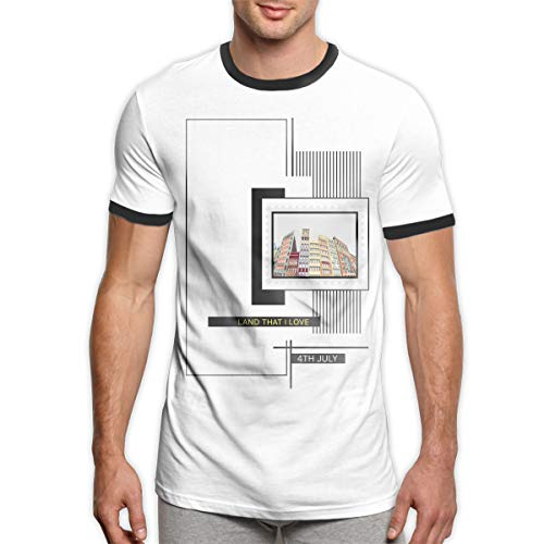 Klassiker 4. von Juli USA-Land, DASS ich das Wecker-T-Shirt der Männer Liebe Das vierte von Juli-T-Shirt Viertel von Juli T_Shirts für Männer Schwarzes M
