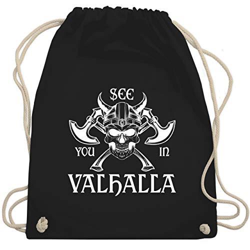 Shirtracer Piraten & Totenkopf - See you in Valhalla - Unisize - Schwarz - turnbeutel see you - WM110 - Turnbeutel und Stoffbeutel aus Baumwolle