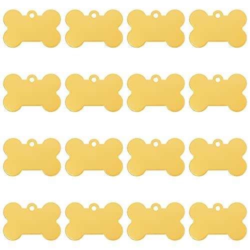 BENECREAT 30 pezzi 25 x 38 mm oro bianco ciondolo a forma di osso, in alluminio stamping Blank Tag con scatola per collana bracciale dei cani