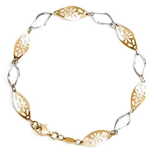 Maverton Damen Armband 333 Gold mit Weißgold + personalisierte Geschenkbox mit Gravur - Geschenk für Frauen - Länge: 19 cm - 8 Karat