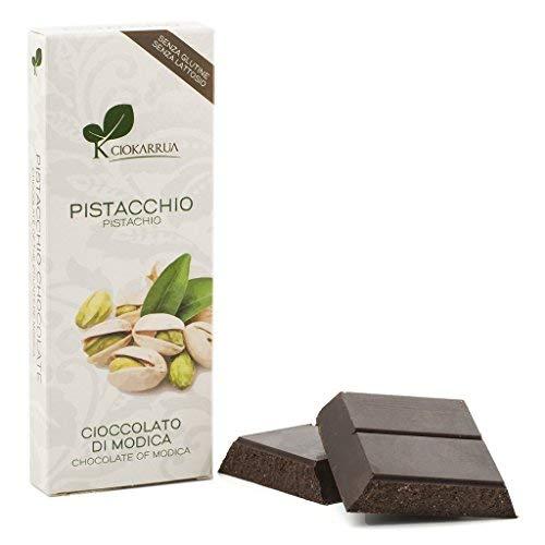 Ciokarrua | Cioccolato di Modica Pistacchio | Cioccolato Grezzo Lavorato Modica IGP | Tavoletta Cioccolato Senza Lattosio | Cioccolata 1 Tavoletta - 100 Grammi