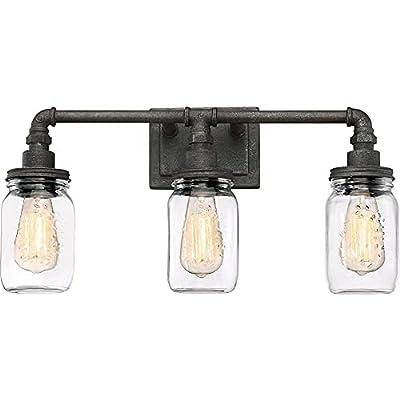 "Quoizel SQR8603RK Squire Industrial Rustic Vanity Wall Lighting, 3-Light, 300 Watts, Rustic Black (11""H x 22""W)"